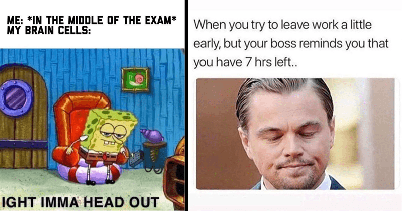 Funny random memes and tweets, twitter memes, leondardo dicaprio, spicy memes, offensive memes | MIDDLE EXAM MY BRAIN CELLS: IGHT IMMA HEAD OUT Spongebob getting out | try leave work little early, but boss reminds have 7 hrs left..