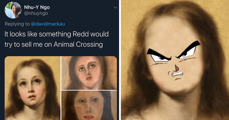 funny tweets about botched art restoration in spain, virgin mary | Nhu-Y Ngo @nhuyngo Replying davidmackau looks like something Redd would try sell on Animal Crossing 3:08 PM 6/22/20 Twitter Web App | angry anime face Ghost Tsuchimi RootLoops Replying royalacademy Done!