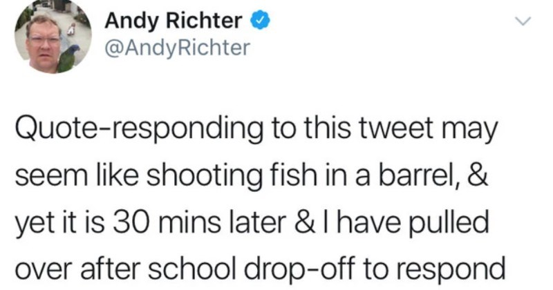 An important Twitter thread breaks down living with depression | Andy Richter O @AndyRichter Quote-responding this tweet may seem like shooting fish barrel yet is 30 mins later have pulled over after school drop-off respond further because l am angry.