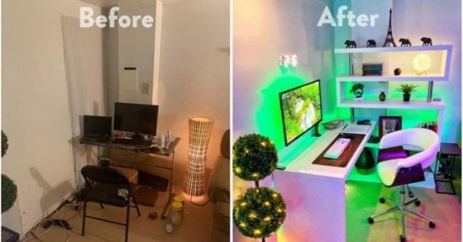 pictures showing home DIY transformations before and after | modern design neon lights bedroom office space