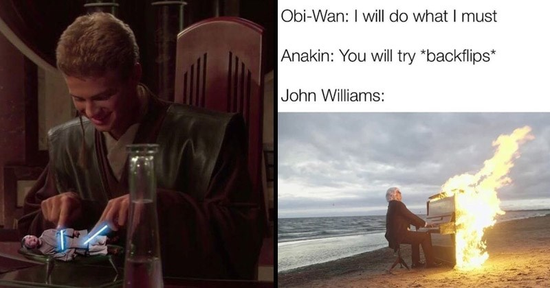 Funny memes about 'Star Wars: The Phantom Menace' | Anakin Skywalker cutting up a young Jedi padawan youngling with two tiny light sabers like cutlery | bi-Wan will do must Anakin will try *backflips* John Williams: playing a piano on fire on the beach