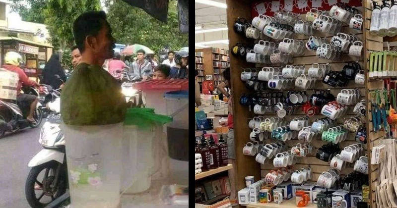 Double-take images caused by strange perspective | man looking as if his head is sticking out from a green bag on top of a container | mugs hanging on a wall looking blurry