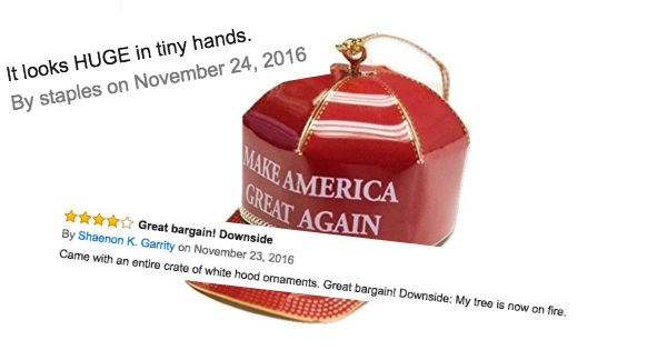 amazon reviews,donald trump,christmas,reactions,holiday,politics,ridiculous,ornament,angry people