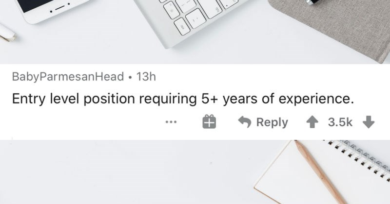People describe their favorite paradoxes in an AskReddit thread | BabyParmesanHead 13h Entry level position requiring 5+ years experience. Reply 1 3.5k