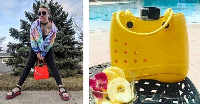 pictures of crocs beach bags | woman in colorful jacket modeling posing with a red plastic rubber croc shoe bag | yellow croc bag next to a glass of pineapple slices