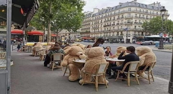 Restaurants Use Animals To Enforce Social Distancing Norms In The Cutest Way | cafe in france with some of the tables occupied by giant stuffed bears