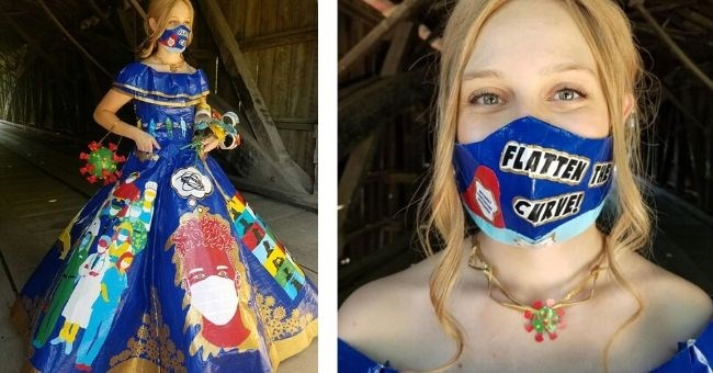 Pictures of COVID-Themed Prom Dress Using Duct Tape | flatten the curve face mask