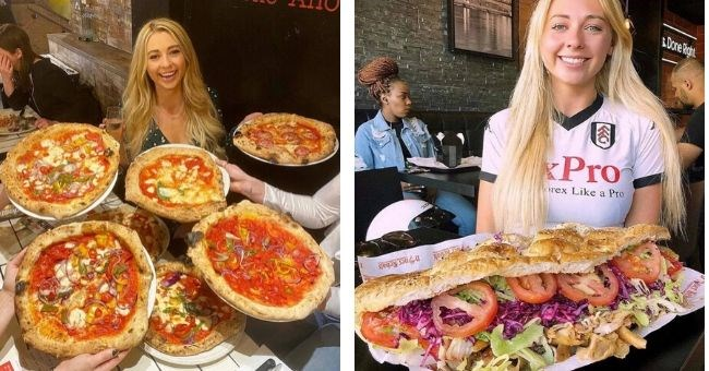 pictures of british girl devouring giant food servings | woman surrounded by pizzas and woman posing with a huge sandwich