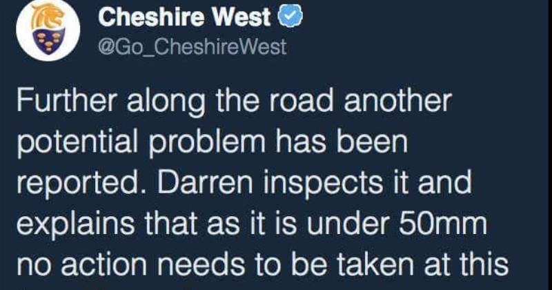 British cop measuring the road ends up getting roasted to oblivion | Cheshire West @Go_CheshireWest Further along road another potential problem has been reported. Darren inspects and explains as is under 50mm no action needs be taken at this time #cwaclive
