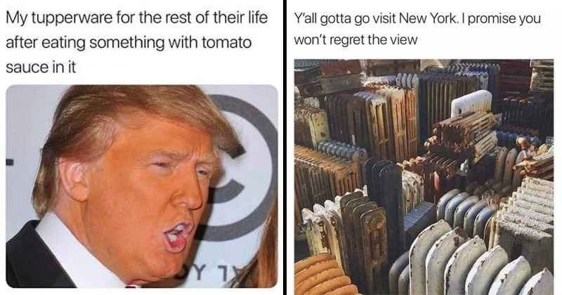 Funny random memes and tweets | My tupperware rest their life after eating something with tomato sauce Donald Trump with orange fake tan | Y'all gotta go visit New York promise won't regret view rusty radiators