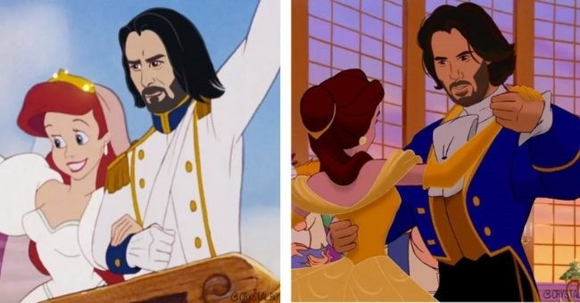 keanu reeve's face photoshopped onto disney princes - cover image pictures of keanu reeves as disney princes | Beauty and the Beast Prince and The Little Mermaid