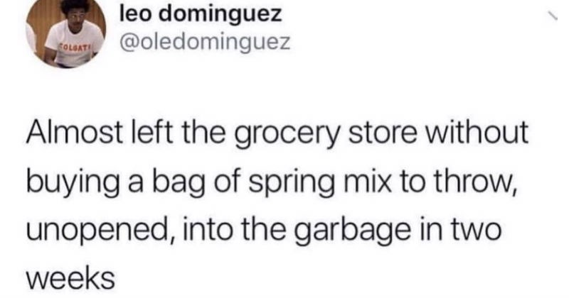 Funny twitter jokes | leo dominguez @oledominguez COLGAT Almost left grocery store without buying bag spring mix throw, unopened, into garbage two weeks