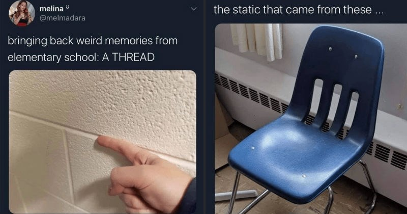 A Twitter thread with multiple nostalgic elementary school memories | melina melmadara bringing back weird memories elementary school THREAD running a finger through wall bricks | melina @melmadara static came these blue plastic chair