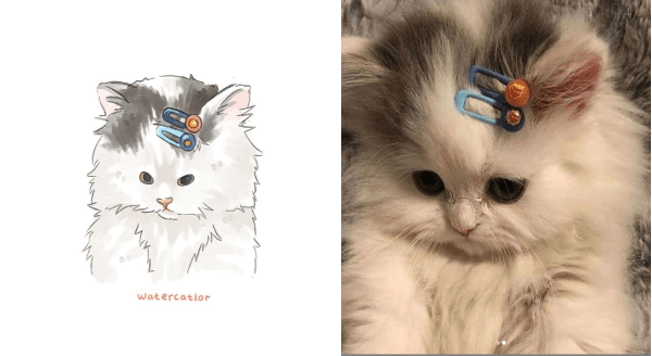 Internet-Famous Cat Pics Turned Into Goofy Watercolors | adorable kitten looking down with two hair pins in its fur