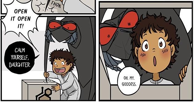 wholesome alien kid comics aww sci fi adorable human art artist   THOK THOK THOK OPEN OPEN CALM YOURSELF, DAUGHTER. OH. MY. GODDESS. DON'T LOOK! funny cartoon drawing