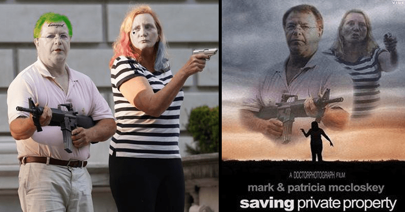 Funny memes and photoshops of St. Louis gun couple mark and patricia mccloskey, photoshops, parodies, funny memes | The Joker and Harley Quinn | saving private ryan movie poster parody [DoctorPhotograph] DVD DOCTORPHOTOGRAPH FLM mark patricia mccloskey saving private property