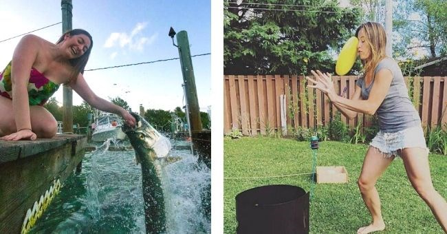 Pictures that were taken at exactly the right moment in time - girl getting hand bitten by fish and girl getting hit in head with frisbee