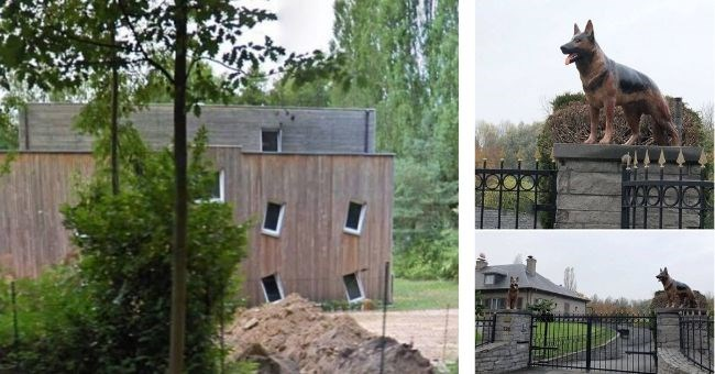 instagram account that shows pictures of ugly houses in belgium - cover image showing house with crooked windows and statue of dog