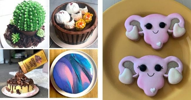 cakes by amateur bakers that look professional | cute smiley uterus shaped cookies | impressive cactus shaped cake, bowl of dumplings, space galaxy frosted cake