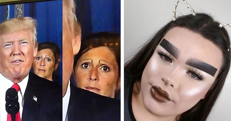 Funny and cringey photos of bad eyebrows   woman with worried expression standing behind Donald Trump   person with thick rectangular drawn eyebrows
