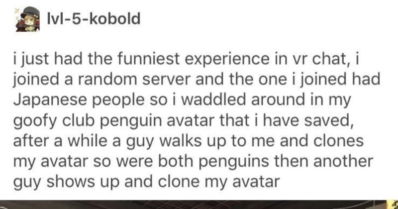 A wholesome Tumblr story about friendship in Club Penguin | Ivl-5-kobold just had funniest experience vr chat joined random server and one joined had Japanese people so waddled around my goofy club penguin avatar have saved, after while guy walks up and clones my avatar so were both penguins then another guy shows up and clone my avatar DOLA BINU 11 4F NALLAH KID 4420