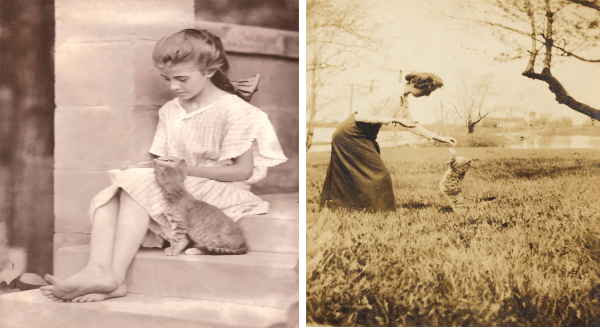 Lovely Vintage Photos Capture People Posing With Their Cats More Than 100 Years Ago | black and white sepia toned photographs young girl sitting on steps with a kitten and woman playing with a cat in a field