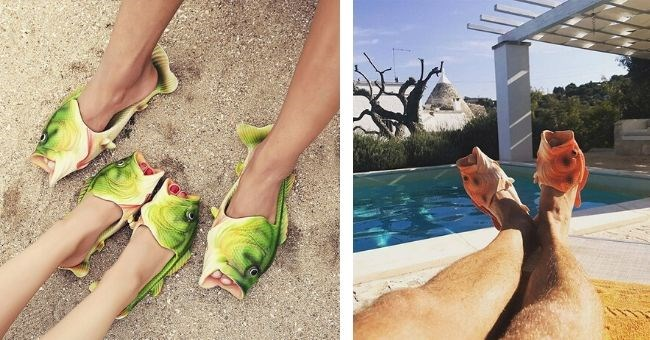 pictures of people wearing fish sandals