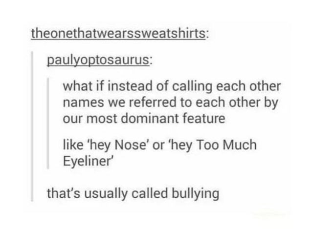 top ten 10 tumblr posts daily | theonethatwearssweatshirts: paulyoptosaurus if instead calling each other names referred each other by our most dominant feature like 'hey Nose' or 'hey Too Much Eyeliner 's usually called bullying