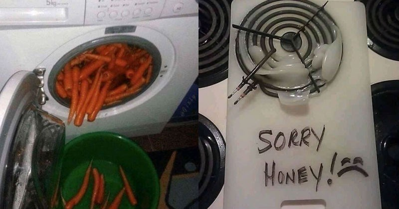 A collection of cooking fails that were just plain terrible | washing carrots in a washing machine | stove burner ring embedded into a melted plastic cutting board and the phrase sorry honey written on it