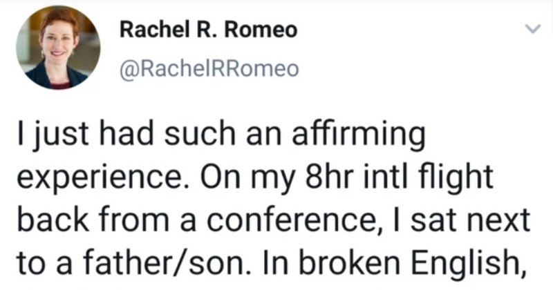A speech pathologist helps out autistic kid on flight | Rachel R. Romeo @RachelRRomeo just had such an affirming experience. On my 8hr intl flight back conference sat next father/son broken English father began apologize/ warn his ~10 yr-old son had severe nonverbal autism, and this would like be difficult journey. 1/