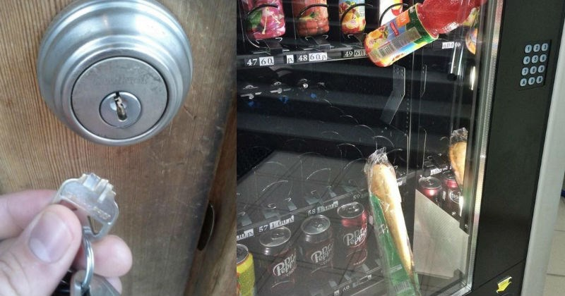 A collection of fails from people that are struggling extra hard | key breaking inside the door lock | sandwich and bottle of drink stuck against the glass in a vending machine
