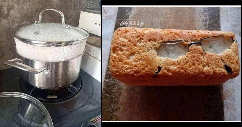 Funny photos of times people messed up their cooking | too much cooked rice it's lifting the lid from the pot | glasses baked into a loaf of bread