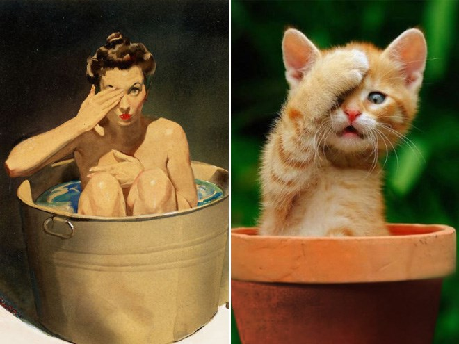 Cats Posing As Pin-Up Girls | pin up art of a woman bathing in a bucket covering an eye with a hand vs cute kitten sitting in a planter pot touching its paw to its head