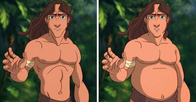 pictures of disney men with plus size makovers - cover picture tarzan normal and plus sized