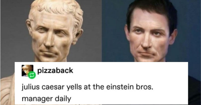 Tumblr thread about judging historical figures in modern fashion | unpretty ROYALTY_NOW_ julius caesar as just Some Dude is tripping out facial reconstruction from a bust