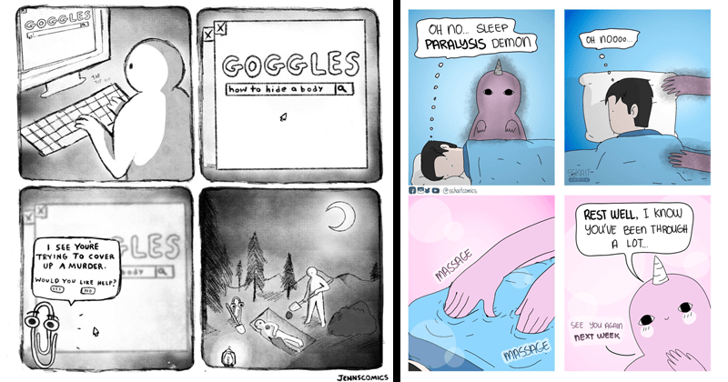 funny web comics | OGGLES GOGGLES TAP TAP TAP hide body SEE YOURE TRYING COVER UP MURDER. S37 edy WOULD LIKE HELP? YES NO JENNSCOMICS | OH No. SLEEP PARALYSIS DEMON OH No00. SEKAIT sskaitcomics Comics REST WELL know BEEN THROUGH LOT MASSAGE SEE AGAIN NEXT WEEK MASSAGE