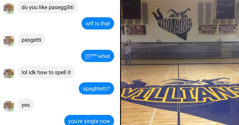 spelling fails and funny misspellings   do like paseggiliti wtf is pasgetti lol idk spell spaghtetti? yes single now   VILLAINS VOLLEYBALL VILLIANS