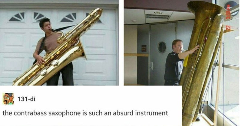 Quick Tumblr thread honors the larger than life saxophones | 131-di contrabass saxophone is such an absurd instrument huge horns