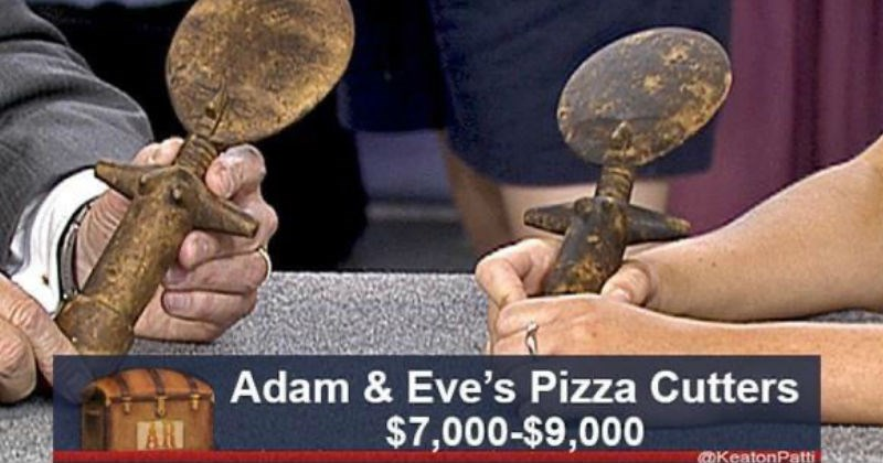 Funny re-captioned antiques roadshow memes | Adam Eve's Pizza Cutters $7,000-$9,000 AR @KeatonPatti