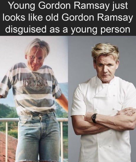collection of funny memes rounded up from google | Person - Young Gordon Ramsay just looks like old Gordon Ramsay disguised as young person