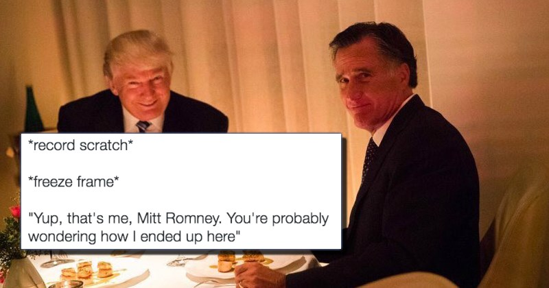 awkward trump and romney dinner