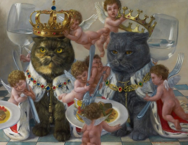 Cats in Renaissance Art | regal royal cat being dressed like kings by little baby angels putting golden crowns and cloaks on them and feeding them from plates