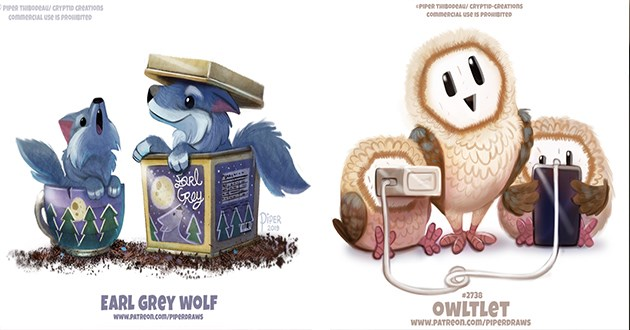 animals word play art artist cute funny illustrations paintings magic magical | PIPER THIBODEAU/ CRYPTID CREATIOns commerCIAL Use IS PROHIBITED Sarl Roy DIPER 2019 EARL GREY WOLF www.PATREON.com/PIPERDRAWS | ©PIPER THIBODEAU/ CRYPTID-CREATIONS commerCIAL USe IS PROHIBITED #2738 OWLTLET wwW.PATREON.com/PIPERDRAWS