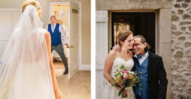 pictures of tearjerker moments between brides and their dads on wedding day | man entering a room with a shocked expression at the sight of a bride | bride and father hugging loveingly