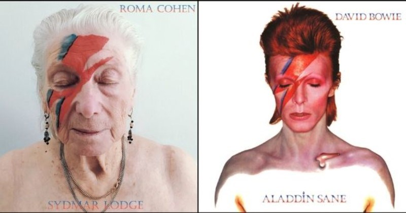 photos of nursing home residents recreating iconic album covers during lockdown - cover pic ROMA COHEN DAVID BOWIE ALADDIN SANE SYDMAR LODGE