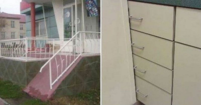 funny design failures | staircase without stairs very steep ramp | cupboard with the shelves blocked from opening by a wall