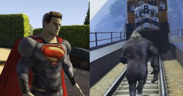 harambe,GTA V,superheroes,video games,Rockstar Games,video game logic,funny
