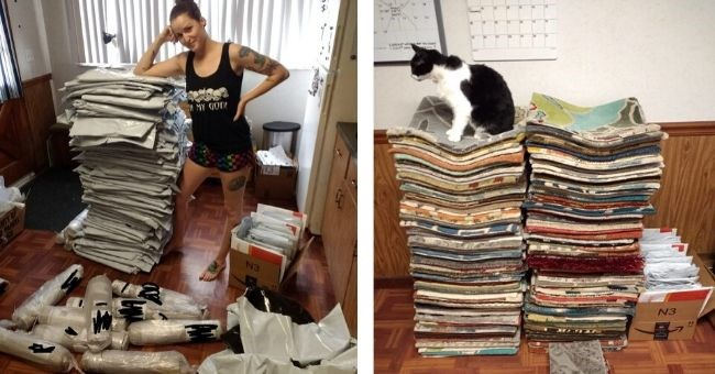 pictures of woman overwhelmed with the free carpet samples she ordered on amazon | cat sitting on a tall pile of folded fabrics