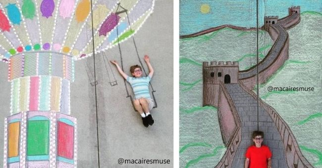 siblings create beautiful chalk artwork on sidewalks near home