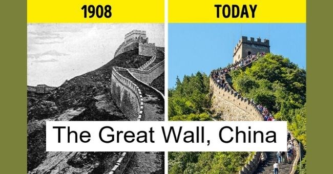 pictures of famous landmarks showing how the world has changed over past 100 years - cover pic The Great Wall, Chin 1908 today